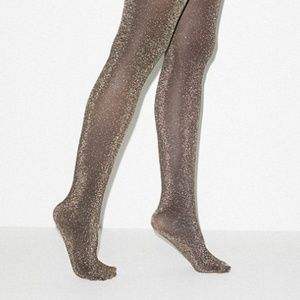 American Apparel Gold Metallic Pantyhose Size M/L
